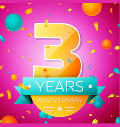 three years anniversary celebration design banner vector image