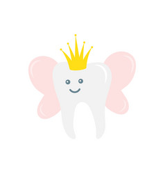 tooth fairy with golden glitter crown and wings vector image