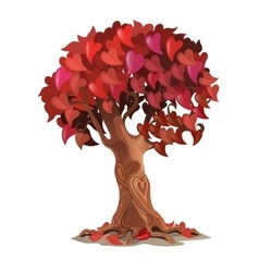 Tree with leaves are heart-shaped romantic symbol vector