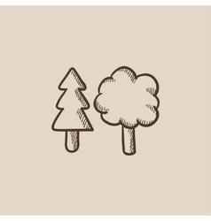 Trees sketch icon vector image