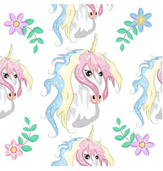 Unicorn rainbow seamless pattern girls scrapbook vector