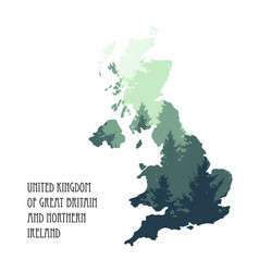 united kingdom map with tree silhouettes vector image