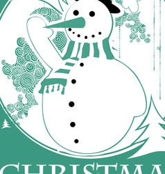 vintage christmas with snowman vector image