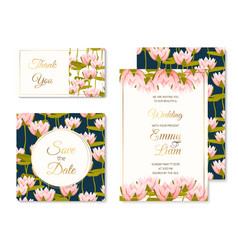 Wedding invitation template set water lilly flower vector