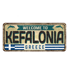 welcome to kefalonia vintage rusty metal sign vector image