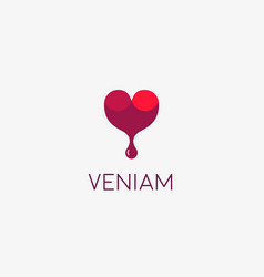 wine logotype abstract drop heart logo vector image