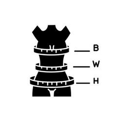 Woman body proportions black glyph icon female vector