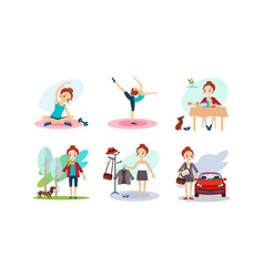 Woman daily routine morning time girl doiing vector