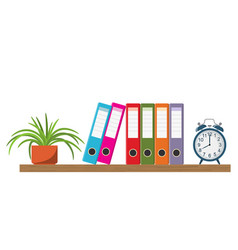 wooden shelf with binder folders and flowerpot vector image