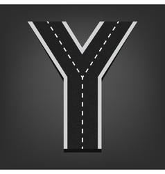 Y letter road font vector