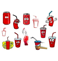 Cartoon cola and soda drinks vector image
