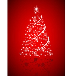 Christmas tree from stars on red background vector image