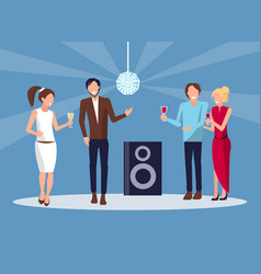 corporate party disco on blue vector image