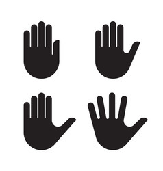 human hand black silhouette icon set collection vector image