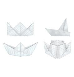 Origami ships set vector image