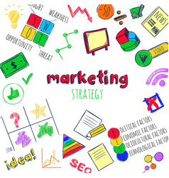 sketch marketing strategy infographic concept vector image