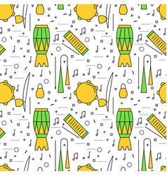 Brazilian capoeira music instruments pattern vector