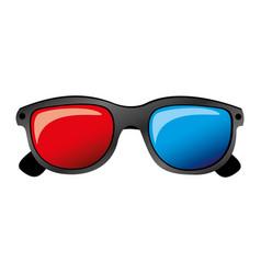 color 3d glasses cinema movie icon vector image