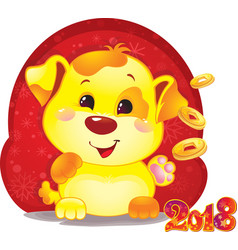 cute symbol of chinese horoscope - yellow dog vector image vector image