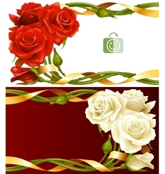 frame set of red and white roses vector image vector image