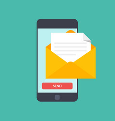 message send on mobile phone email marketing vector image