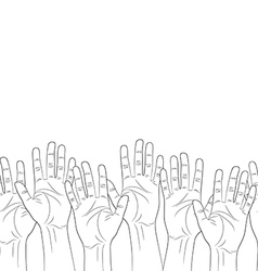 raised hands outline contour seamless pattern vector image vector image