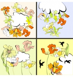 set of four floral card vector image vector image