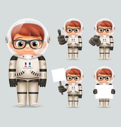 boy space sci-fi cosmonaut realistic 3d cartoon vector image