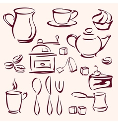 collection of tea coffee and cakes silhouettes vector image vector image