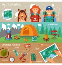 Hiking Horizontal Banners vector image vector image