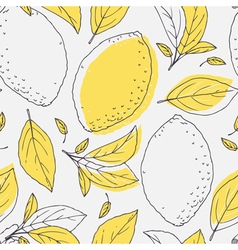Outline seamless pattern with hand drawn lemon vector image