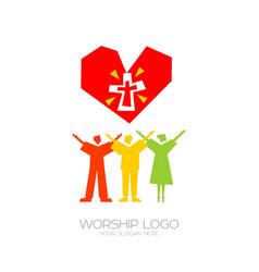 People worship jesus christ vector
