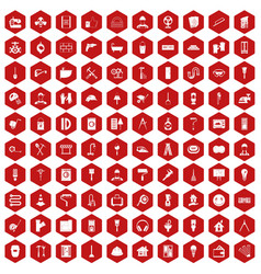 100 renovation icons hexagon red vector image vector image