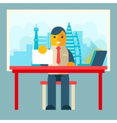 Businessman Sitting Table with Paper Contract vector image