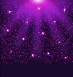 Falling sparkling purple particles and stars vector image vector image