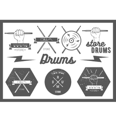 Set of vintage style drums labels emblems vector