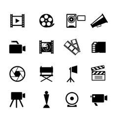 Simple Black and White Video Icon Set vector image vector image