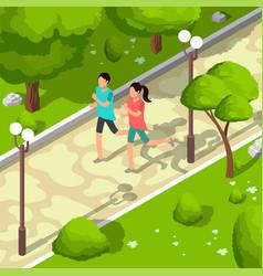Sport family running in park isometric 3d vector