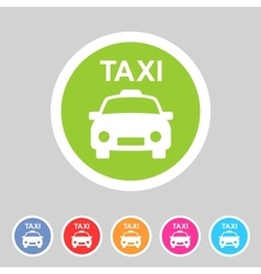 taxi car icon flat web sign symbol logo label vector image vector image