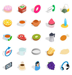 Tea and bun icons set isometric style vector