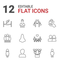 12 people icons vector image
