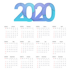 2020 happy new year calendar design happy 2020 vector