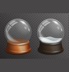 3d realistic snow glass ball highlight wooden vector image