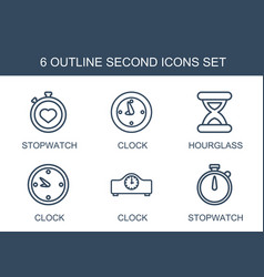 6 second icons vector