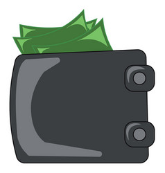 a folded black-colored wallet containing green vector image