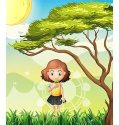 A small girl near the big tree vector