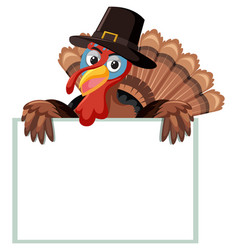 a turkey with blank banner vector image