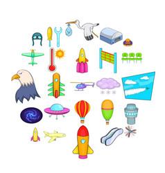 air navigation icons set cartoon style vector image