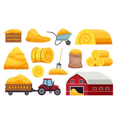 Bales hay icons collection vector