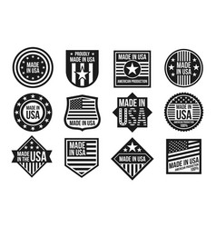 Black and white made in usa badges banners vector